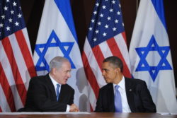 US President Barack Obama shakes hands with Israeli Prime Minister Benjamin Netanyahu during a bilateral meeting at the United Nations, September 21, 2011