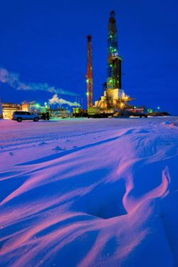 An oil drilling platform operated by BP rival Rosneft in the Vankor oil field in Siberia, Russia