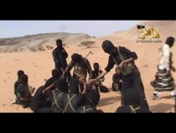 A screen shot of a video posted on the Internet on October 6, 2010 showing militants from al-Qaeda in the Arabian Peninsula.