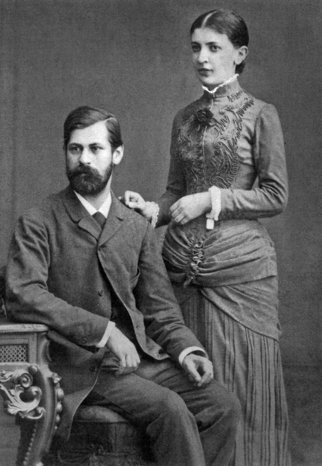 Sigmund Freud and Martha Bernays during their engagement, Wandsbeck, near Hamburg, 1885
