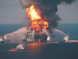 Fireboat response crews battling the blazing remnants of the Deepwater Horizon, the offshore drilling rig owned by Transocean that exploded when BP's Macondo oil well ruptured in the Gulf of Mexico, April 21, 2010