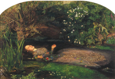 John Everett Millais: Ophelia, 1852. 'Paintings of drowned people, I thought, tend to show them serene,' Tim Parks writes in Teach Us to Sit Still. 'Millais's Ophelia is transformed into something more beautiful than she was alive.'