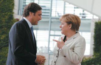 German Chancellor Angela Merkel and Portuguese Prime Minister Pedro Passos Coelho, Berlin, September 1, 2011