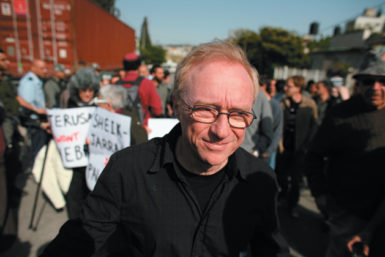 David Grossman protesting in the East Jerusalem neighborhood of Sheikh Jarrah in support of evicted Palestinian families, September 2010