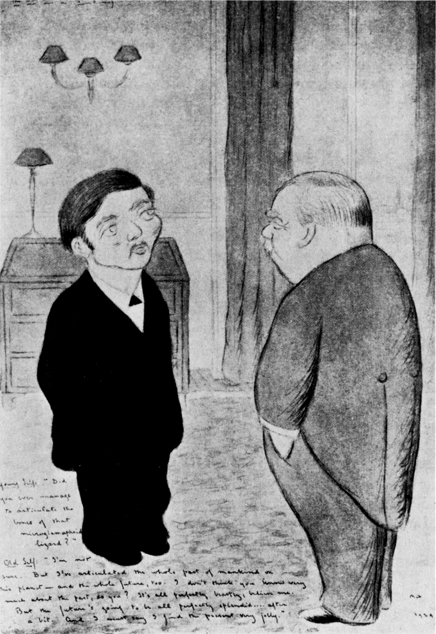 'The Old and the Young Self: Mr. H.G. Wells'; drawing by Max Beerbohm, 1924
