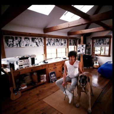 Bob Dylan in his studio, late 1980s