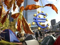 Tents set up by the ' Occupy Frankfurt' movement in front of the European Central Bank, October 26, 2011, Frankfurt