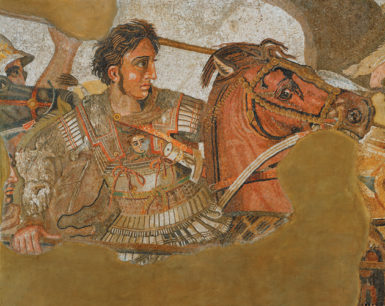 Detail of the 'Alexander Mosaic,' circa 100 BC, recovered from the floor of the 'House of the Faun' in Pompeii, showing Alexander the Great (with a Gorgon's head on his breastplate) charging toward King Darius of Persia in what is thought to be the Battle of Issus, 333 BC