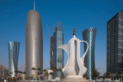 Doha, Qatar, with the 'dallah,' or coffee pot, monument in the foreground, 2010