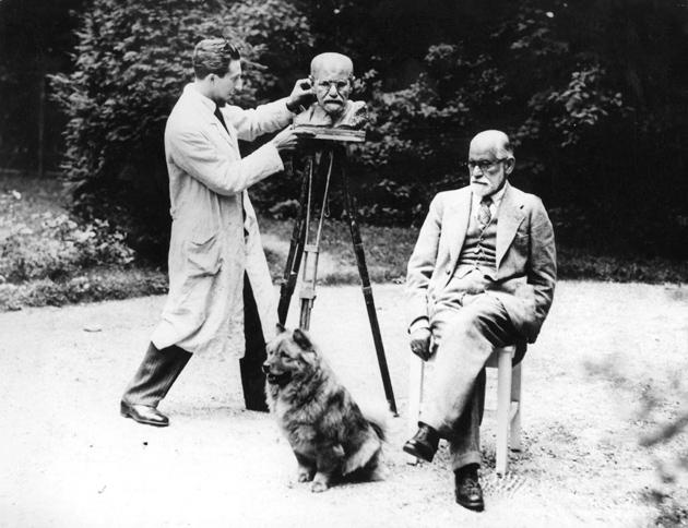 Sigmund Freud posing for a portrait bust by Oscar Nemon, Vienna, 1931