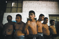 Suspected gang members being held by the police, San Salvador, August 2005