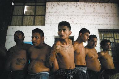 Suspected gang members being held by the police, San Salvador, August 2005