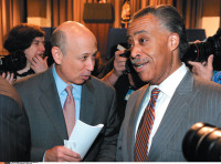 Lloyd Blankfein, chairman and CEO of Goldman Sachs, and Al Sharpton at the Cooper Union, where President Barack Obama was giving a speech on financial regulation, New York City, April 22, 2010