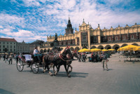 The Main Market Square in Cracow, with the statue of Adam Mickiewicz in front of the Cloth Hall, 2004