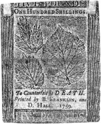 A one-hundred-shilling note printed by Benjamin Franklin and David Hall, 1759