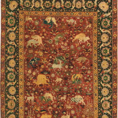 Silk animal rug; 95 x 70 inches, made in Iran, probably Kashan, 1550–1600