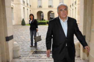 Dominique Strauss-Kahn and his wife, Anne Sinclair, in the courtyard of their Paris residence, September 2011