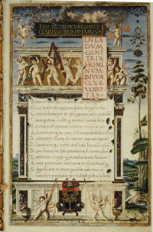 Frontispiece to On the Nature of Things by Lucretius, copied by Girolamo di Matteo de Tauris for Pope Sixtus IV, Italy, 1483