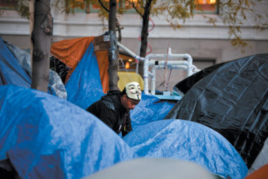 An Occupy Wall Street protester in Zuccotti Park, New York City, November 8, 2011