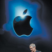Apple CEO Tim Cook announcing the iPhone 4S at Apple headquarters, Cupertino, California, October 4, 2011