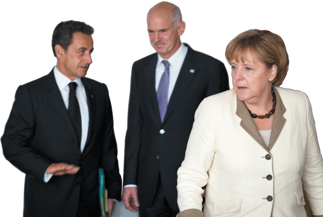 French President Nicolas Sarkozy, former Greek Prime Minister George Papandreou, and German Chancellor Angela Merkel, Brussels, July 2011