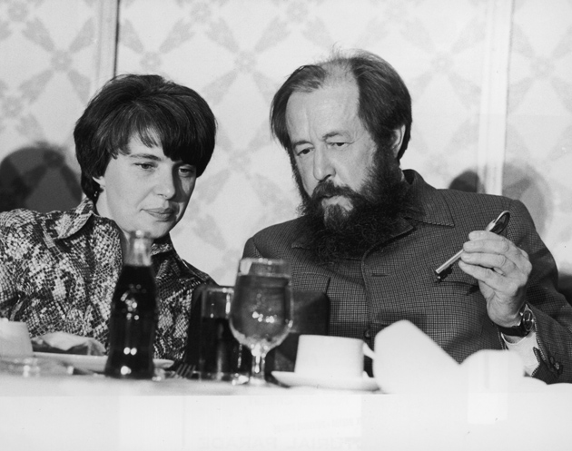 Aleksandr Solzhenitsyn and his wife Natalya during a luncheon given in his honor by the AFL-CIO, New York City, July 1975