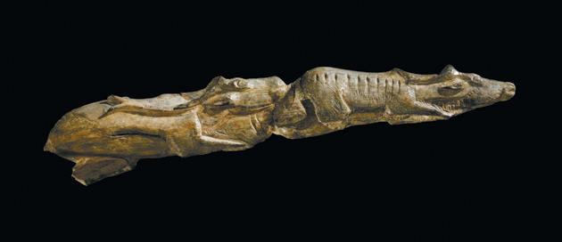 'Swimming Reindeer'; carved from mammoth tusk, 8 inches long, found in Montastruc, France, 11,000 BC