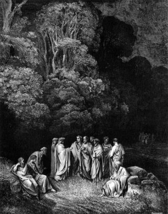 Dante and Virgil in the first circle of hell, meeting classical poets, including Homer, Horace, Ovid, and Lucan, who were virtuous in life but are condemned to Limbo because they were never baptized; engraving by Gustave Doré