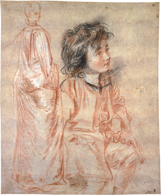 Jean-Antoine Watteau: Studies of a Standing Woman and a Seated Boy Holding a Key