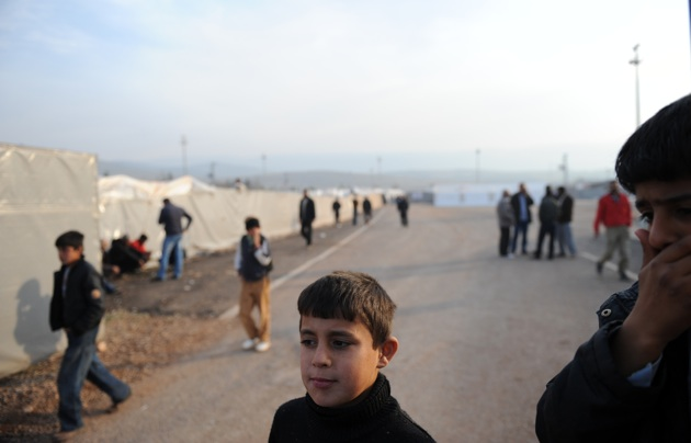 Syrian refugees in a camp near the Turkish border town of Reyhanli, Hatay province, December 5, 2011