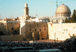 The Wailing Wall at the Temple Mount, with the Dome of the Rock in the background at right, Jerusalem, 1993