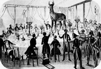 A supper to celebrate Saint Hubert, the patron saint of hunters, at the restaurant Véfour