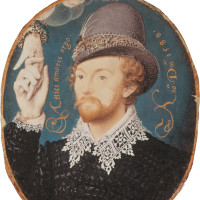 'Man Clasping a Hand from a Cloud'; miniature, thought by some to show William Shakespeare, by Nicholas Hilliard, 1588