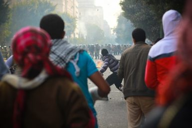 Protesters face off against security forces, Cairo, December 16, 2011