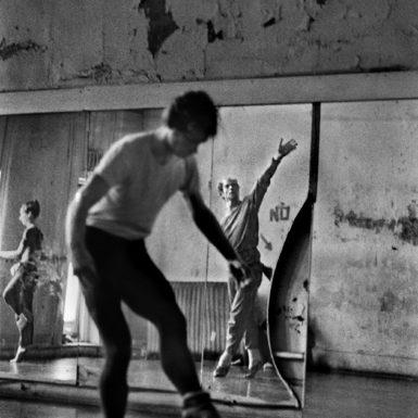 Merce Cunningham (back center) at his dance studio on Third Avenue, New York City, 1970