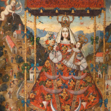 Our Lady of Cocharcas Under the Baldachin (detail); eighteenth-century Peruvian painting, artist unknown