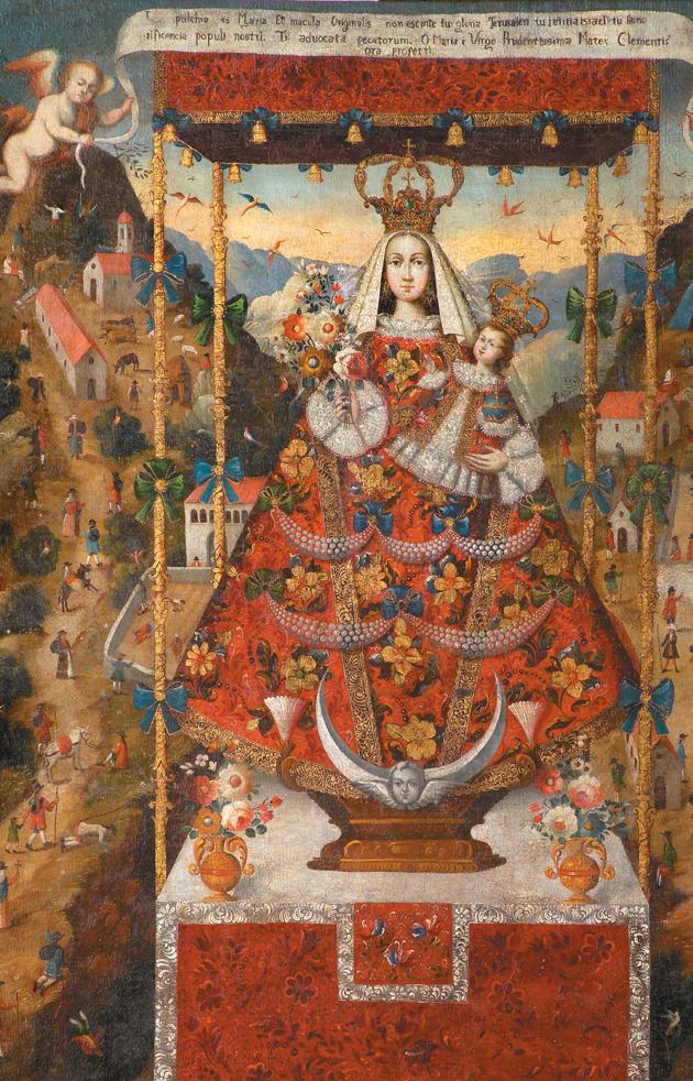 Our Lady of Cocharcas Under the Baldachin (detail); eighteenth-century Peruvian painting, artist unknown