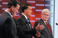 Rick Santorum, Mitt Romney, and Newt Gingrich during the ABC News Republican presidential debate, Des Moines, Iowa, December 10, 2011