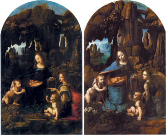 The Louvre's Virgin of the Rocks by Leonardo da Vinci, 1483–1490 (left); the National Gallery's version of Leonardo's Virgin of the Rocks, circa 1508 (right)