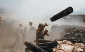 US soldiers firing at Taliban positions, Shalay Valley, Kunar Province, Afghanistan, October 4, 2011