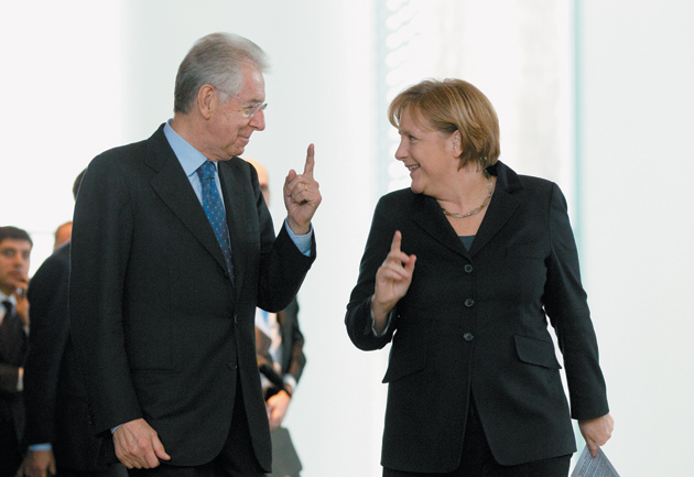 Italian Prime Minister Mario Monti and German Chancellor Angela Merkel, Berlin, January 11, 2012