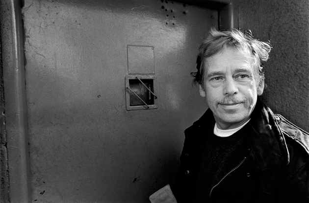 Václav Havel visiting Ruzyně Prison, where he had once been incarcerated, Prague, March 1990