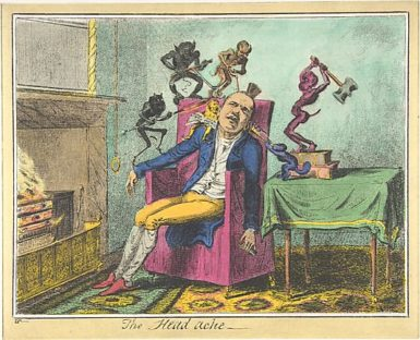 Enrique Chagoya: The Headache, A Print after George Cruikshank, 2010