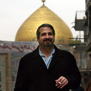 Anthony Shadid in front of the Imam Ali Mosque, Najaf, Iraq, December 3, 2003