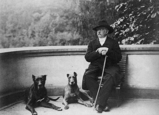 Otto von Bismarck with his dogs, Tyras II and Rebecca, July 1891