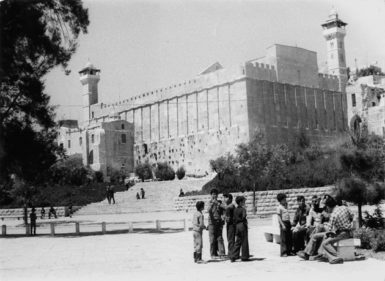 Palestinians outside the Mosque of Abraham, which covers the Tomb of the Patriarchs, Hebron, 1976