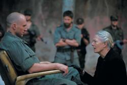 Ralph Fiennes as Caius Martius Coriolanus and Vanessa Redgrave as his mother, Volumnia, in <i>Coriolanus</i>