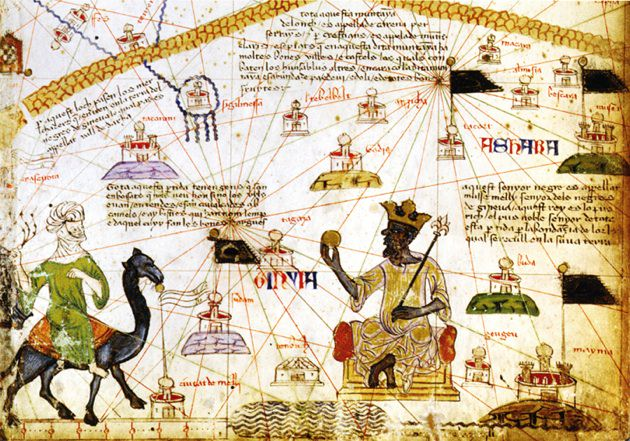 A detail from the Catalan Atlas, attributed to the Majorcan Jewish cartographer Abraham Cresques, 1375