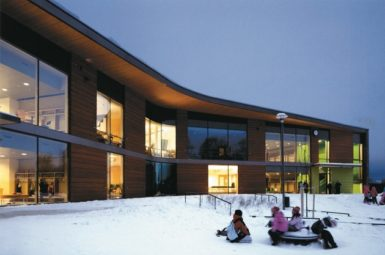 The Kirkkojärvi School in Espoo, Finland, which accommodates about 770 students aged seven to sixteen and also includes a preschool for six-year-olds; from the Museum of Finnish Architecture's exhibition 'The Best School in the World: Seven Finnish Examples from the 21st Century,' which will be on view at the American Institute of Architects' Center for Architecture in New York City this fall