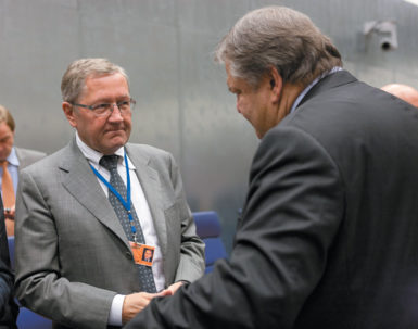 Klaus Regling, head of the European Financial Stability Facility, and Evangelos Venizelos, Greece's finance minister, during a meeting of eurozone ministers in Luxembourg, October 3, 2011